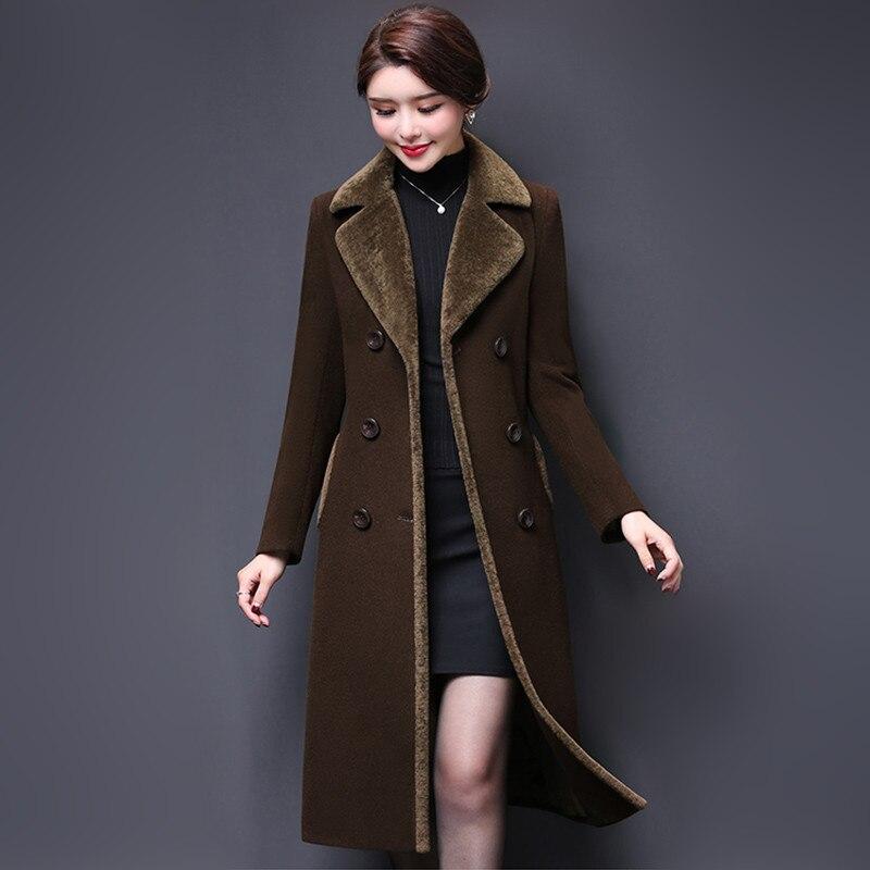 M-5XL новый для женщин шерсть пальто зима 2018 Мода мать утолщаются кашемировый воротник Длинная Куртка Теплый Тонкий Топы корректирующи