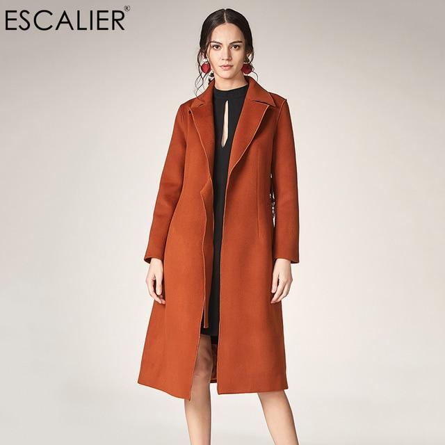 fffd123252dc ESCALIER Women s Casual 100%Wool Coats Winter Solid Color Turn down ...