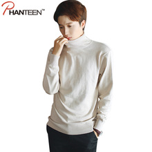 Solid Color Turtleneck Men Sweaters Autumn Winter Warming Knitted Pullovers High Quality Comfortable Fashion Under Shirt