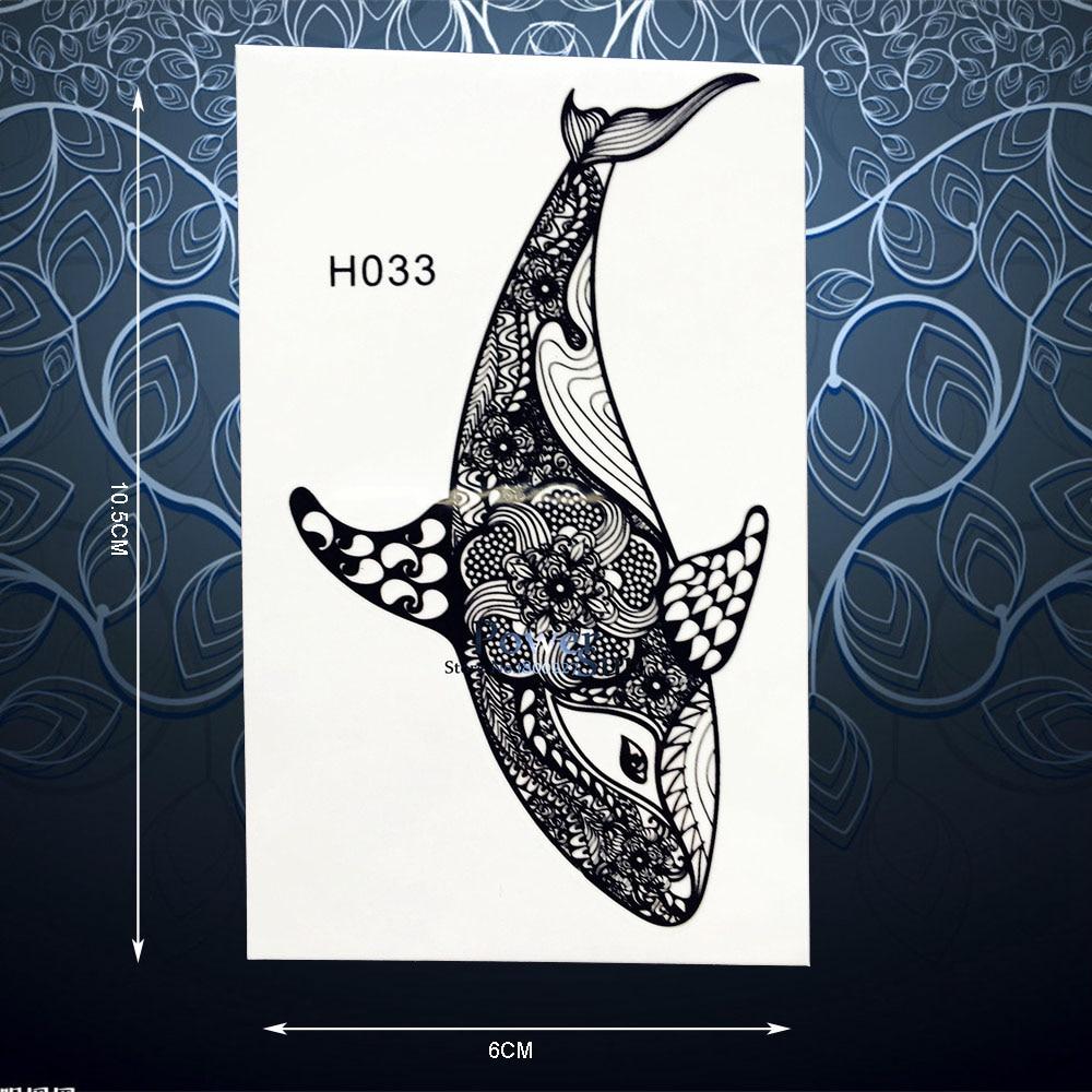Dolphin Henna Tattoo: Black Henna Fish Dolphin Whale Temporary Tattoo Sticker