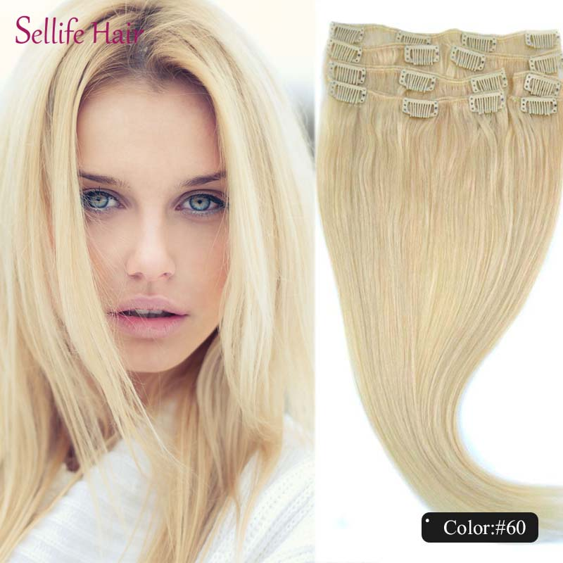 Whole Sale Noble European Women s Straight Clip In Natural Hair Extensions  100% Real Person Hair  60 White Blonde Color 500994ae99fa