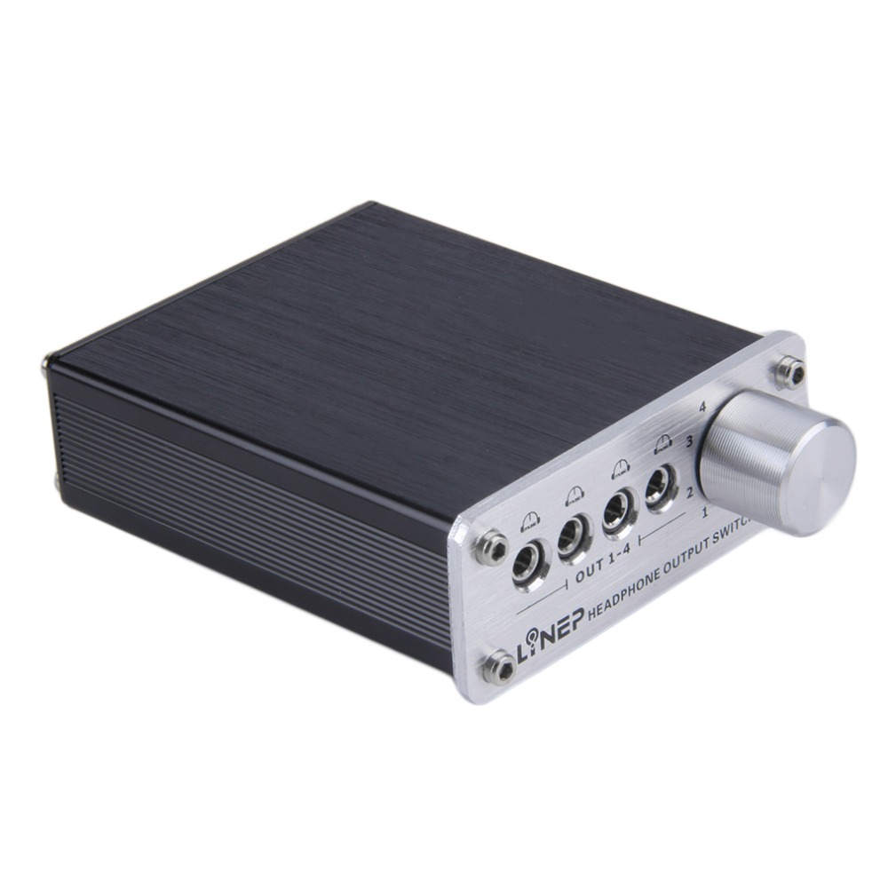 4 Entrada 4 salida auriculares auricular 3.5mm MP3 audio interruptor de la señal digital multi-canal ee.uu. PLUG negro al por mayor