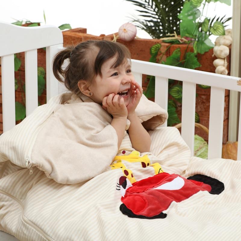 Весна осень зима хлопка спальный мешок вышитые анти kick для маленьких детей спальный мешок с начинкой 120*75 см