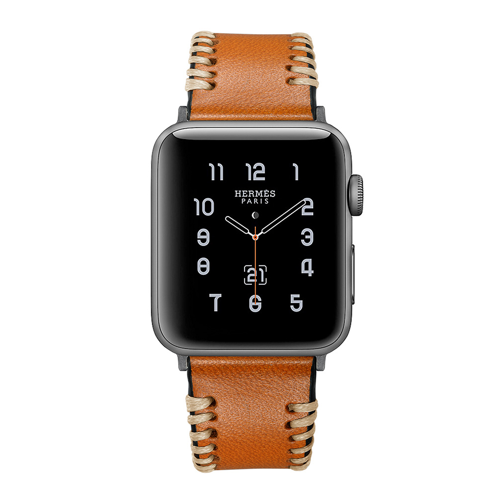 Newest Genuine Leather Handmade Line Watch Band For Apple iWatch Wrist Strap For Apple Watch Series 1 2 3 42mm Watch Bracelet genuine leather classic buckle watch straps wrist band for apple watch 42mm red
