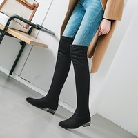Big Size 11 12 13 14 15 16 17 Women look slimmer and keep warm with low, chunky heels and belted boots above the knee
