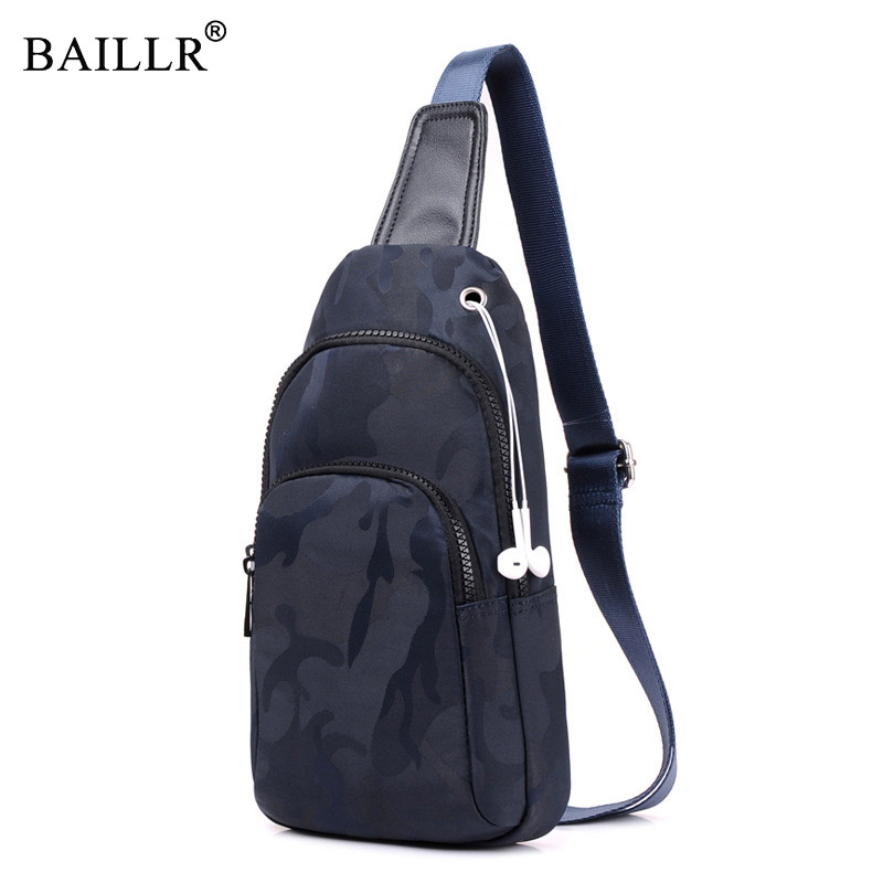 BAILLR Brand 2017 Mens Chest Pack Double zipper Oxford Casual Bag Single Shoulder Strap Pack Mens Crossbody Bags for earphone