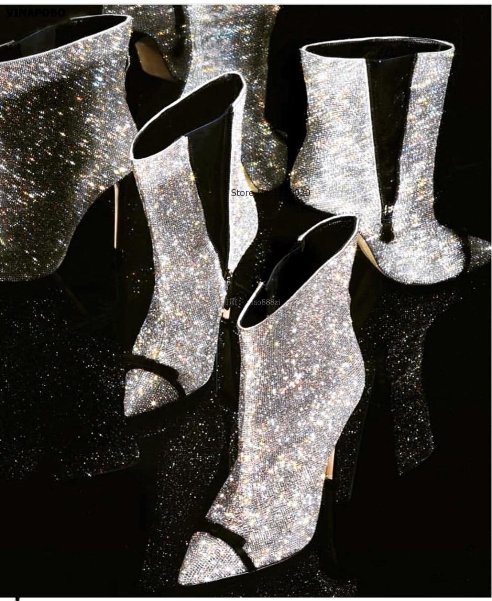 Haute Noeud Pointu 6cm 10cm Spectacle Papillon 6cm Dames Vinapobo Brillant 10cm Latérale Modèle 6cm 10cm Talons Bottes Sexy Chaussures Bout Cheville Glissière 2019 Bling Femmes 84xHqvXBw