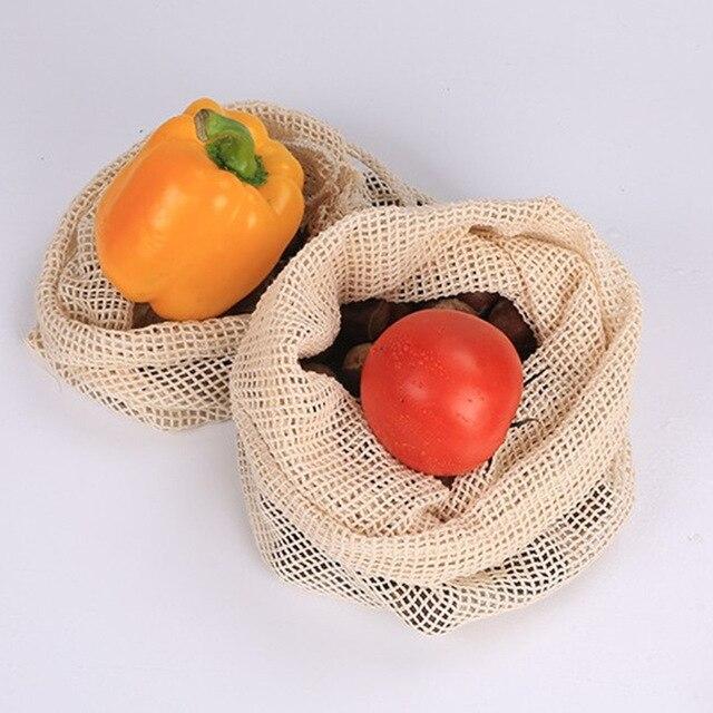 Высококачественные сумки из органической хлопковой сетки, кухонные сетчатые пакеты для хранения фруктов и овощей с кулиской, можно стирать...