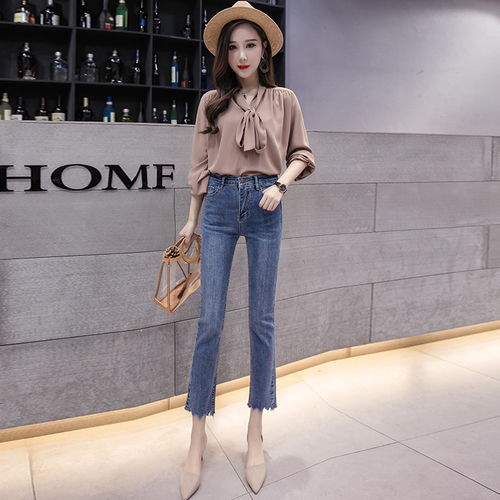 2018 Spring Style Irregular Flare   Pants     Capris   High Waist Slim Jeans For Women Fashion office lady Trousers for women