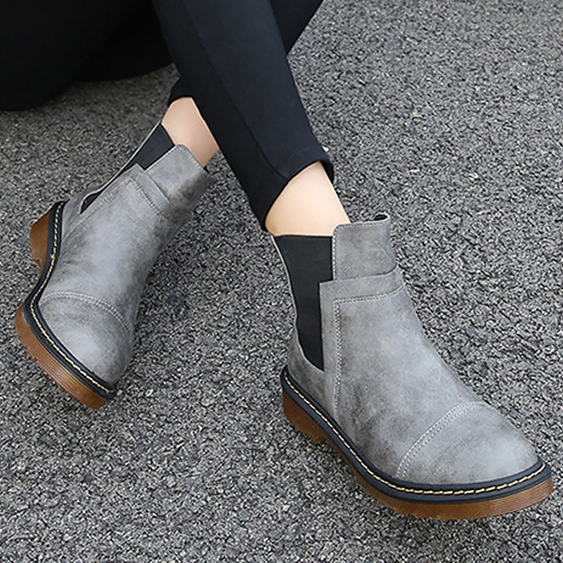 Womens leather boots elastic band cotton PU designer ankle female boot slip-on platform woman shoes 2018 new basic