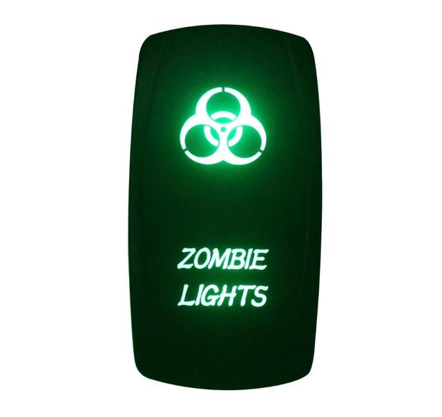 DC 12V 24V Waterproof IP66 ZOMBIE LIGHTS Rocker Switch GREEN Led Lamp 5 Pin  ON/