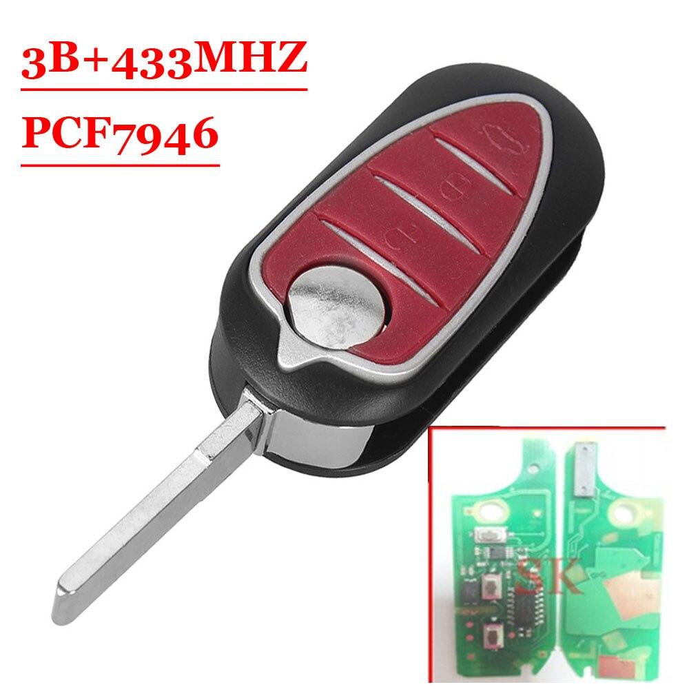 (1pcs )Folding Remote Key Fob 433MHz PCF7946 3 Button for Alfa Romeo 147 156 166 GT alfa romeo 166