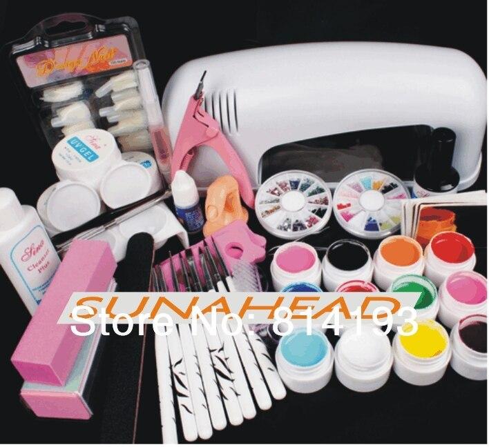 Hot Pro 9W UV GEL White Lamp & 12 Color UV Gel Nail Art Tool Kits Sets
