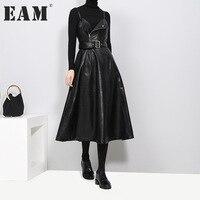 EAM 2017 New Autumn Winter Solid Color Strapless Black PU Leather High Waist Belt Zipper