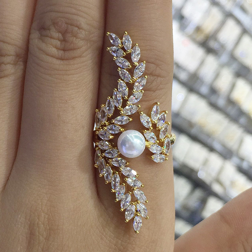 GODKI Angel Wing Feather Design Long Full Finger Luxury Pearl Cubic Zircon Women Wedding Engagement Party Ring
