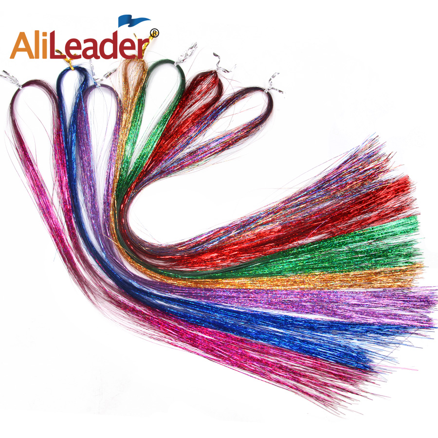 """36"""" 100 Strands Colorful Long Decoration Bling Rainbow Silk Hair Extensions Dazzles Sparkle Shiny Tinsel Blue Pink Purple Green 3"""