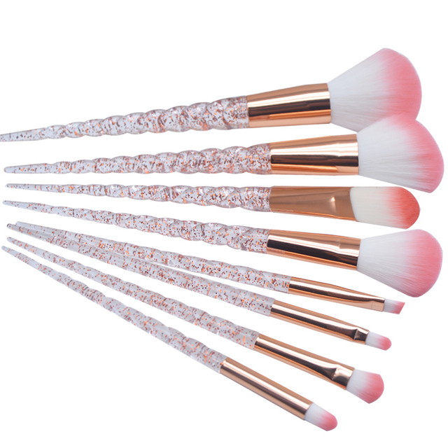 8 Piece Red Glitter Diamond Makeup Brush Set