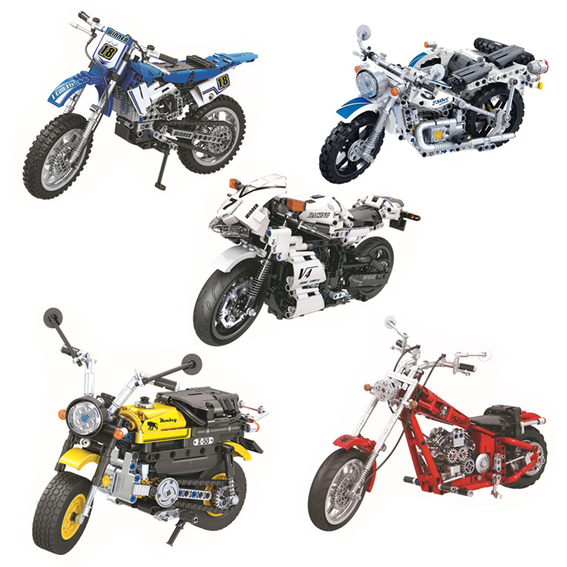 High Technic Motorbike Motorcycle Car bicycle Cross Country Motorcycle building bricks blocks toys for children gifts decool 3353 3354 lepin technic motorbike motorcycle car building bricks blocks toys for children boy game gift bela 8051