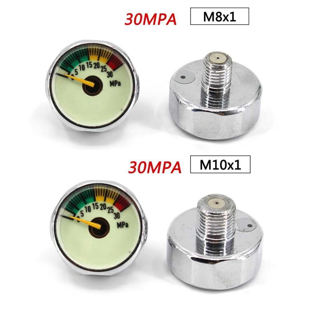 PCP Paintball Airforce Válvula de buceo Din, bomba reguladora M8x1 M10x1 1/8NPT 1/8BSPP Mini manómetro de presión 20/30/40MPA 1 pulgada