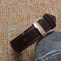 Naranja Puntada Correa de Reloj Correas de Reloj de Implementación de Cierre Venda de Reloj de Acero De Cuero Marrón 18mm 20mm 22mm Promoción Libre gratis