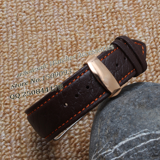 c1234dad6af Orange Stitch Watchband Watch Band Brown Leather Steel Deployment Clasp  Watch Straps 18mm 20mm 22mm Promotion Free shipping