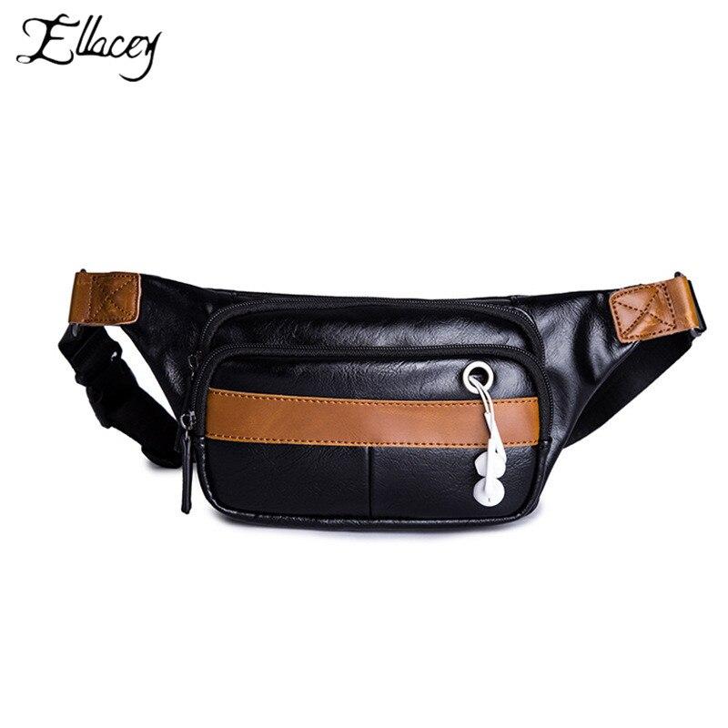 Fashion Pu Leather Chest Bag Mens Messenger Bag Casual Sports Shoulder Bag Phone Pockets Waist Bag Multifunction Fanny Pack Waist Packs Men's Bags
