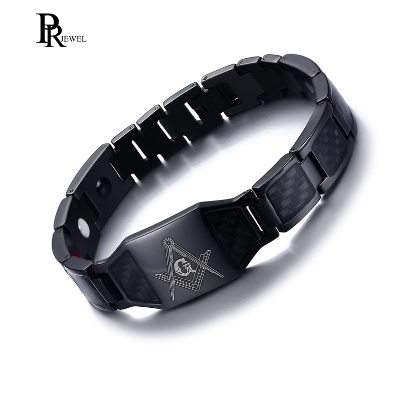 Classic Men's Stainless Steel Carbon Fiber Free Mason 4 in 1 Magnetic Therapy Healing Masonic Bracelet Adjustable soitis free mason hip hop stainless steel past master masonic free mason freemasonry pendants mason necklaces gold color