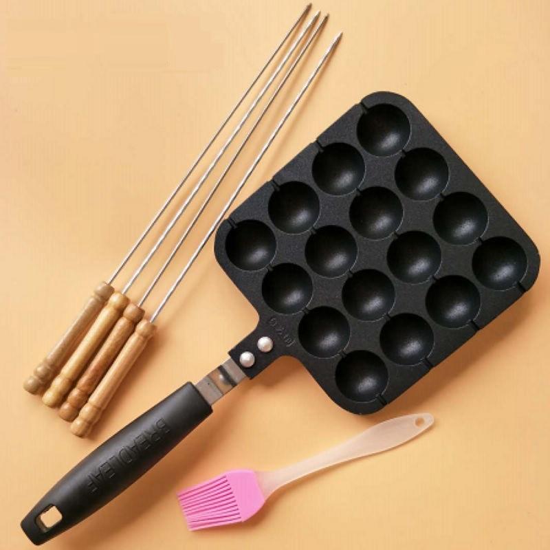 16 Holes Professional Takoyaki Pan Grill With Stick & Oil Brush Non-stick Aluminum Octopus Ball Maker Meatball Cake Baking Plate