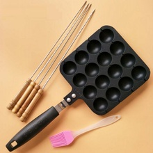 16 Holes Professional Takoyaki Pan Grill With Stick & Oil Brush Non-stick Aluminum Octopus Ball Maker Meatball Cake Baking Plate цена и фото