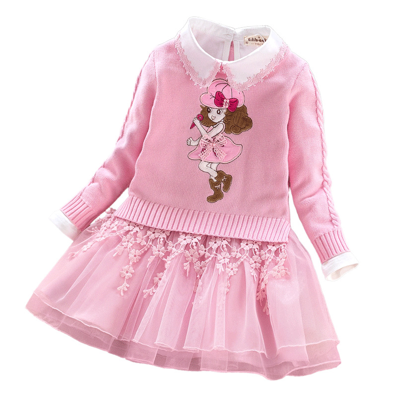 3-10 Year Princess Girls Clothing Set High Quality Girl Autumn Winter Sweater Coat+Dress 2Pcs Lace Embroidery Kids Girls Clothes kids dress set for girls dress shirts 2pcs sets clothes set for big teenager clothing girls princess dress h92