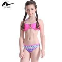 Strój Kąpielowy Bikini Stroje Kąpielowe dla dzieci 2017 Lato Nowy Styl Profesjonalny Sport Lovely Girls Drukuj Kantar dziecka Odzież Plażowa