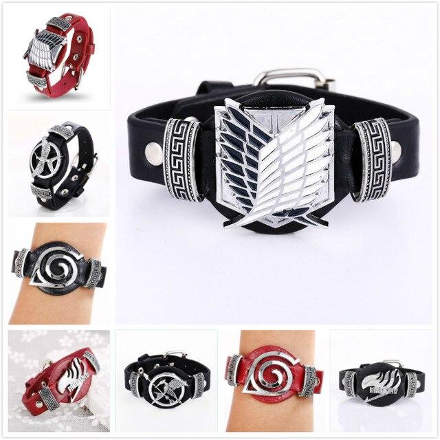 Jewelry Bracelet Bleach Attack on Titan Naruto Leather Bracelets Anime Punk Bangle Bracelet