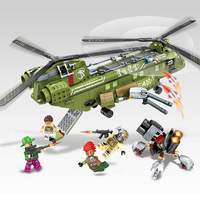 Military Series 506pcs Block Black Gold Building Blocks Helicopter Army Bricks Children Toys Compatible With Legoing