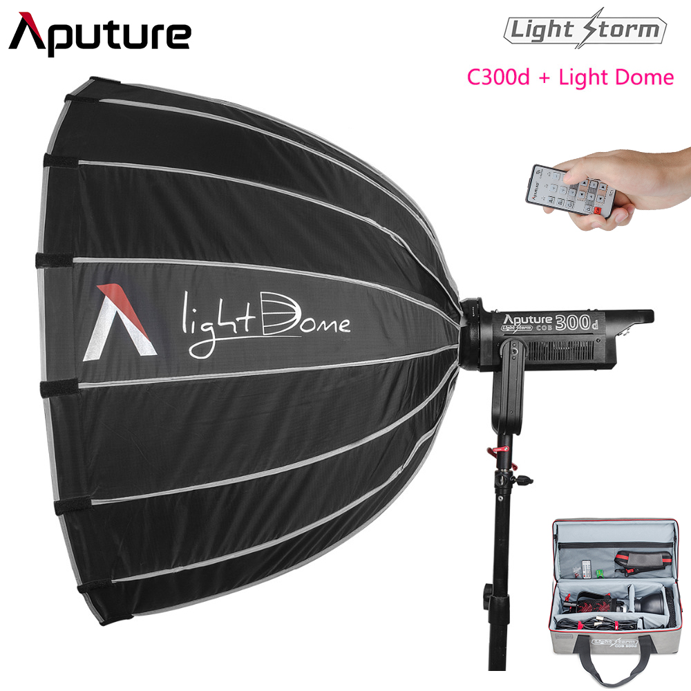 Aputure LS C300d & Light Dome CRI 95+ TLCI 96+ 300W Output COB Shooting Led Studio Light Bowens Mount 5500K 2K Tungsten Light aputure ls c120t tlci cri 97 light dome kit led video studio camera light panel light storm with wireless remote v mount plate