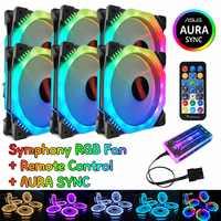 Computer Gaming Fall PC Einstellen RGB Lüfter LED 120mm Ruhig Symphonie AURA SYNC Musik Control Kühler Kühlung RGB fall Fan CPU