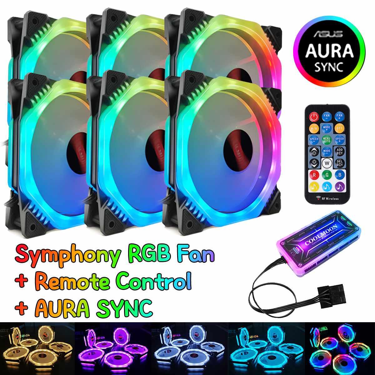 Ordinateur boîte de jeu PC ajuster RGB ventilateur de refroidissement LED 120mm calme symphonie AURA SYNC musique contrôle refroidisseur refroidissement RGB boîtier ventilateur CPU