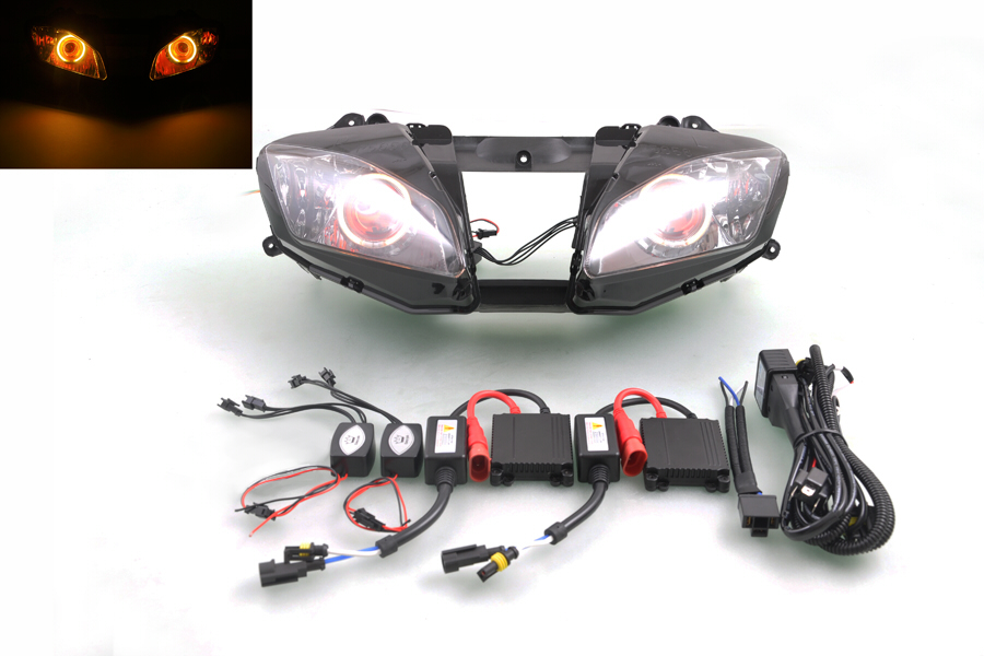 Wotefusi Motorcycle Headlight For Yamaha YZF R6 2006 2007 Headlight Head Light Lamp Yellow Angel Red Devil Eyes Rings [DD09-4]