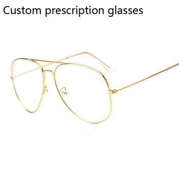 Niestandardowe okulary korekcyjne okulary dla osób z krótkowzrocznością okulary pilotażowe okulary korekcyjne damskie męskie okulary optyczne rama dla kobiet mężczyzn tanie i dobre opinie HJYFINO Unisex Miedzi JY326CLEAR FRAMES Okulary akcesoria
