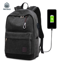 INHO CHANCY  Anti Theft Backpack Mens Fashion Canvas Bag With High Quality USB Charging Laptop Male Teenagers School Bags