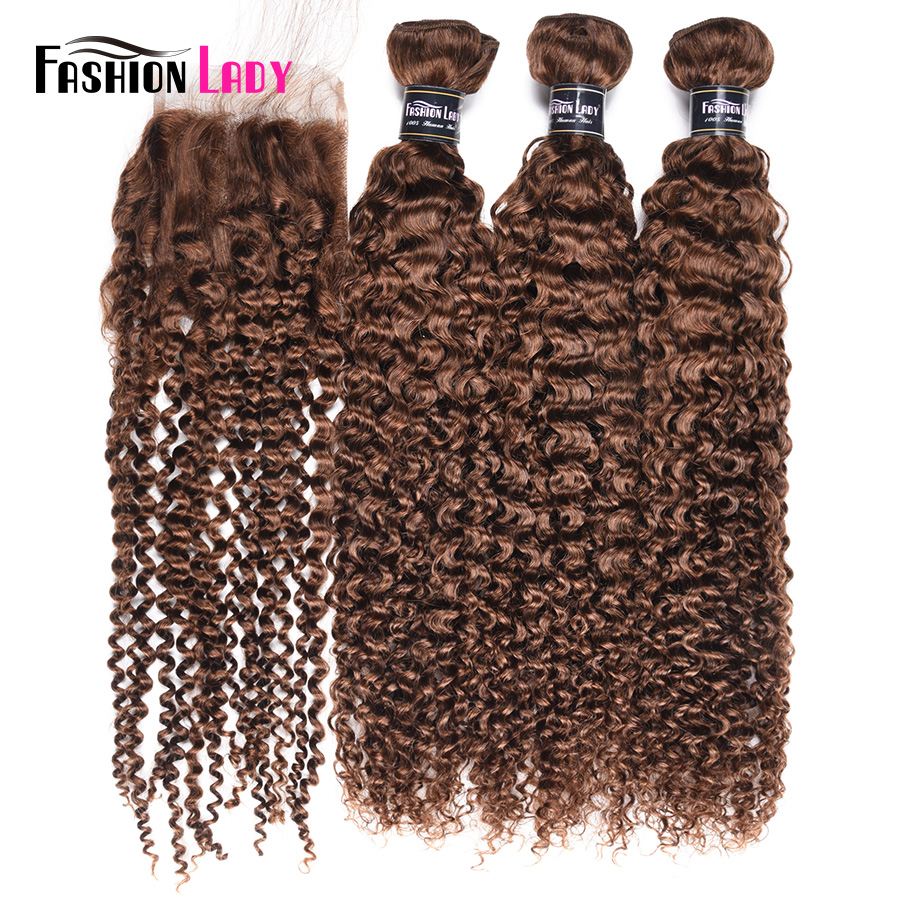 Fashion Lady Pre-Colored Brazilian Weave Curly Bundles With Closure Human Hair 4# Medium Brown 3 Bundles With Closure Non-Remy