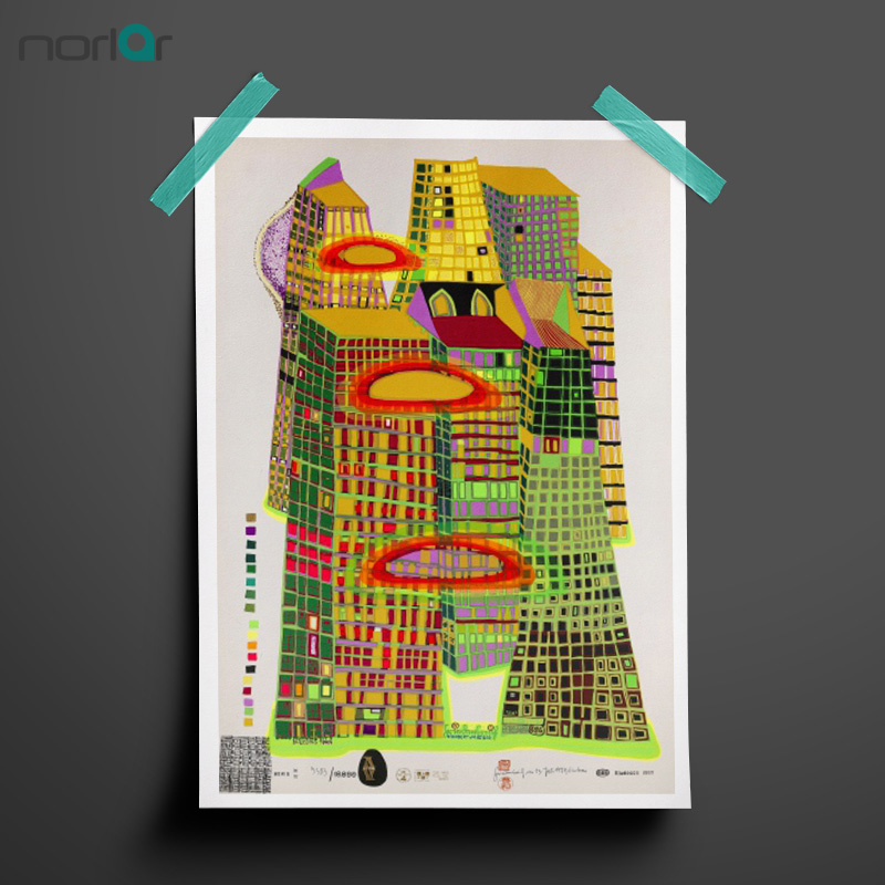 HD Printed Oil Paintings Hundertwasser Good Morning City Abstract Canvas Painting Wall Art Printing Poster NO FRAME