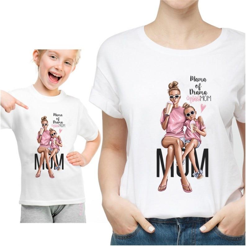 5c9a4dc7b Regalo Día de la madre mamá hija blanco camiseta de padre-hijo de ropa  Super mamá encantadora de manga corta chico mamá chica T camisa camisetas  HKP3093