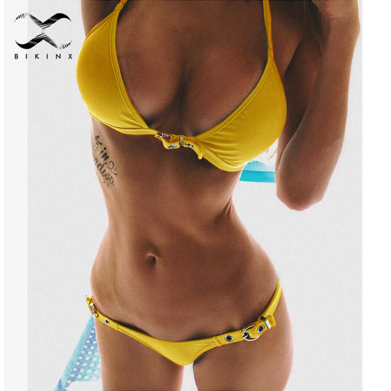 9ae59ca70d Bikinx Halter triangle bikini 2018 thong women brazilian swimsuit Yellow  swimwear female push up bathing suit
