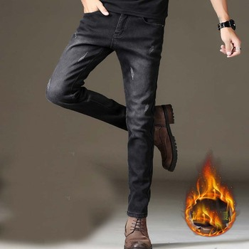 New Autumn Winter Jeans Men Brand Clothing Flocking Soft Warm Mens Fleece Jeans Denim Pensil Pants