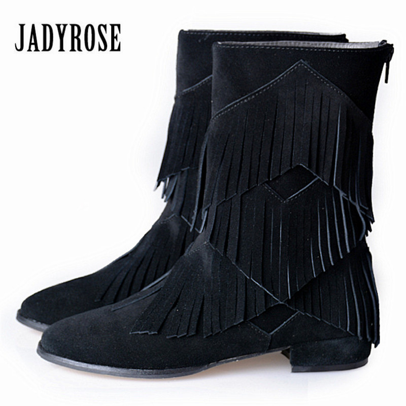 Jady Rose 2018 Fashion Fringed Women Mid-Calf Boots Suede Tassels Female Back Zipper Flat Boots Autumn Winter Martin Boot tassels flock wedge suede mid calf boots