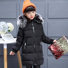 Girls Winter New down Jackets Girls Fashion Fur Collar Letters Coats Girl Thickening Hooded Warm Jacket kids clothes
