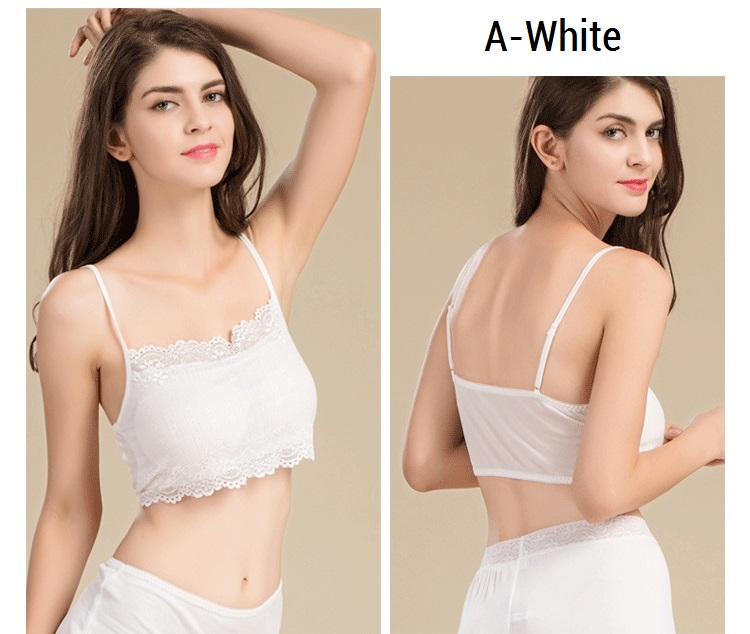 100% Real Silk Women's Tube Tops Femme Shoulder Sleeve Women Sexy Lace Wrap Chest Female Solid Wild Bottoming Woman 11