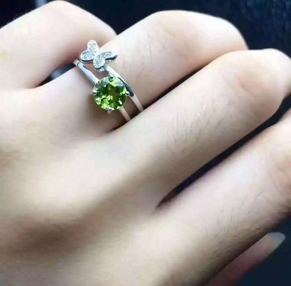 334ffcf219d9 Natural peridot olivino Anillo joya de piedra Natural anillo de plata de  ley 925 de moda elegante Cruz de la mariposa mujeres de partido de la  muchacha de ...