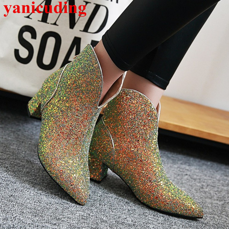 Pointed Toe Women Ankle Boots Med Heel Back Zipper Bling Sequined Cloth Shoes Runway Nightclub Star Runway Spring Brand Shoes pointed toe med heel women ankle boots side zip design women shoes pearl bling short booties belt decor luxury brand super star