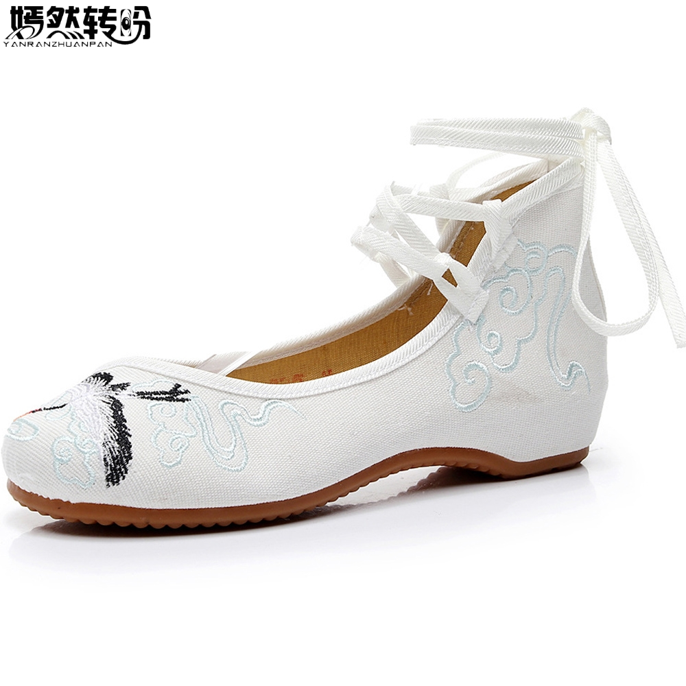 Chinese Women Flats Old Peking Crane Embroidery Shoes Mary Janes Ballets Cloth Casual White Dance Shoes Woman Zapatos Mujer chinese women flats old beijing mary jane casual flower embroidered cloth canvas dance ballet shoes woman zapatos de mujer